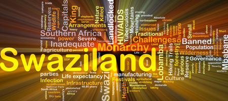landlocked country: Background concept wordcloud illustration of Swaziland glowing light Stock Photo