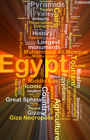 necropolis: Background concept wordcloud illustration of Egypt glowing light