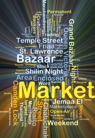 Background concept wordcloud illustration of market glowing light Stock Photo