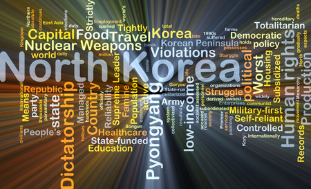 totalitarian: Background concept wordcloud illustration of North Korea glowing light Stock Photo