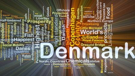 neon fish: Background concept wordcloud illustration of Denmark glowing light