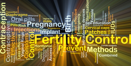 Background concept wordcloud illustration of fertility control glowing light