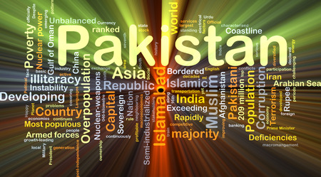 illiteracy: Background concept wordcloud illustration of Pakistan glowing light