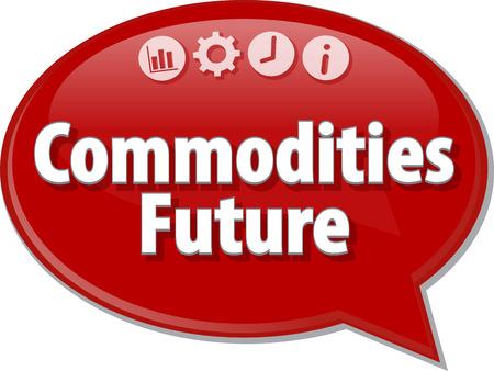 commodities: ilustración de diálogo burbuja del discurso del término de negocios diciendo futuro de las commodities