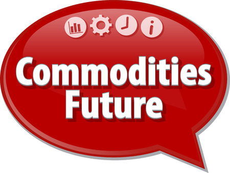 commodities: Speech bubble dialog illustration of business term saying Commodities Future