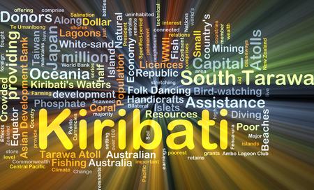 phosphate: Background concept wordcloud illustration of Kiribati glowing light