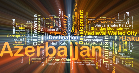 walled: Background concept wordcloud illustration of Azerbaijan glowing light