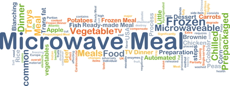 cooled: Background concept wordcloud illustration of microwave meal Stock Photo