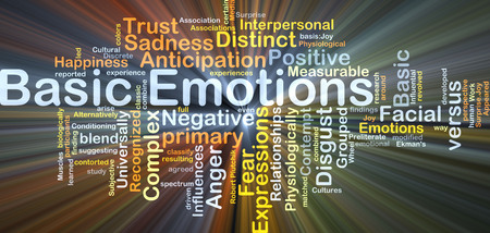 universally: Background concept wordcloud illustration of basic emotions glowing light