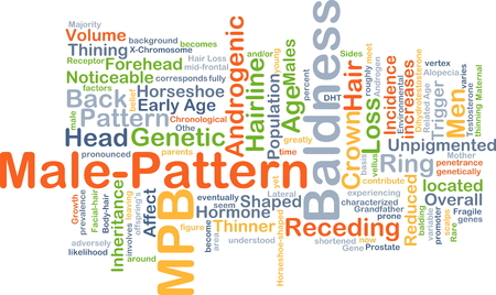 baldness: Background concept wordcloud illustration of male-pattern baldness