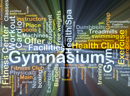 additional training: Background concept wordcloud illustration of gymnasium glowing light