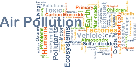 pollutants: Background concept wordcloud illustration of air pollution Stock Photo