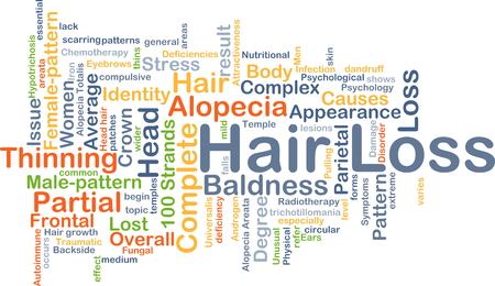 deficiencies: Background concept wordcloud illustration of hair loss