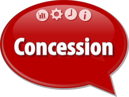 concession: Speech bubble dialog illustration of business term saying Concession