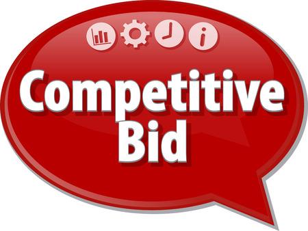 bid: Ilustración de diálogo Burbuja del discurso del término de negocios diciendo Oferta Competitiva