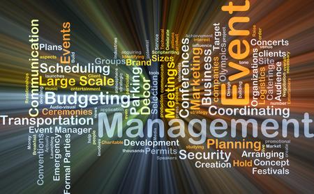 termine: Wordcloud Hintergrund Konzept des Event-Management glühend Licht