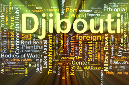 contributing: Background concept wordcloud illustration of Djibouti glowing light