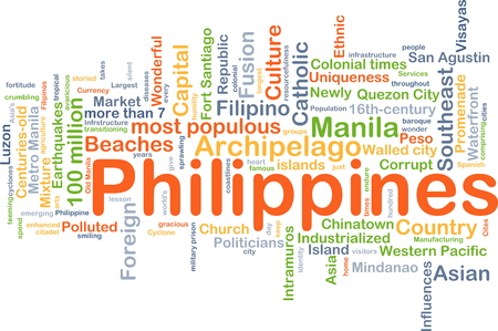 industrialized country: Background concept wordcloud illustration of Philippines