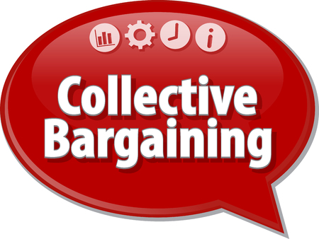 collective: Speech bubble dialog illustration of business term saying Collective Bargaining