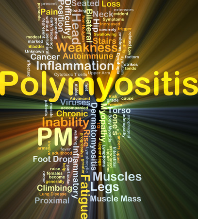 inability: Background concept wordcloud illustration of polymyositis PM glowing light