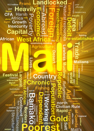 landlocked country: Background concept wordcloud illustration of Mali glowing light