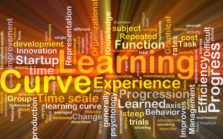 Background concept wordcloud illustration of learning curve glowing light