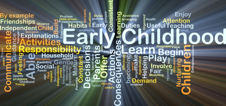 childhood: Background concept wordcloud illustration of early childhood glowing light