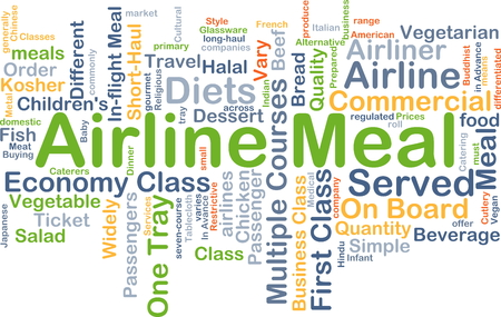 Background concept wordcloud illustration of airline meal