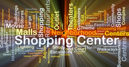 speciality: Background concept wordcloud illustration of shopping center glowing light