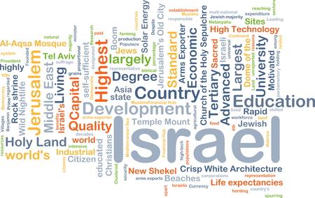 land development: Background concept wordcloud illustration of Israel