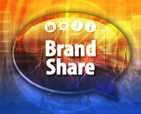 term: Speech bubble dialog illustration of business term saying Brand Share