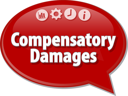 article marketing: Speech bubble dialog illustration of business term saying Compensatory Damages