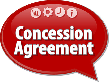 concession: Speech bubble dialog illustration of business term saying Concession Agreement Stock Photo