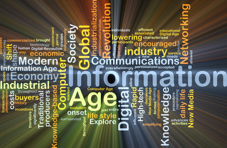 information age: Background concept wordcloud illustration of information age glowing light Stock Photo