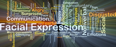interpersonal: Background concept wordcloud illustration of facial expression glowing light