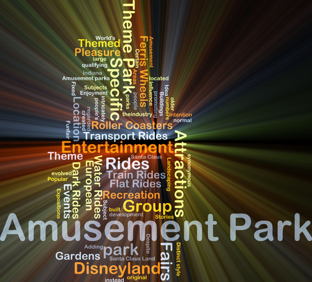 fairs: Background concept wordcloud illustration of amusement park glowing light Stock Photo