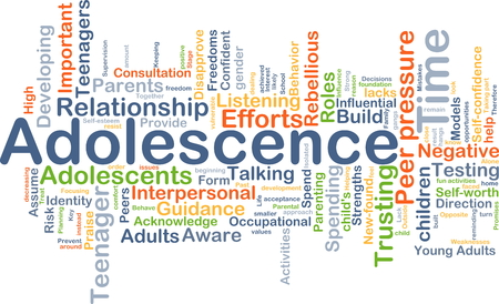 Background concept wordcloud illustration of adolescence Imagens