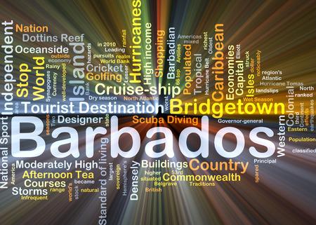 Wordcloud Hintergrund Konzept von Barbados leuchtende Licht