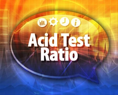 Speech bubble dialog illustration of business term saying Acid Test Ratio