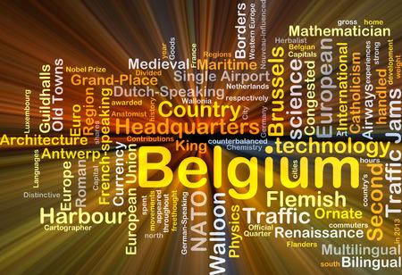 Background concept wordcloud illustration of Belgium glowing light