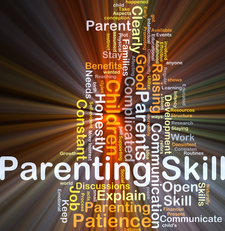 parenting: Background concept wordcloud illustration of parenting skill glowing light
