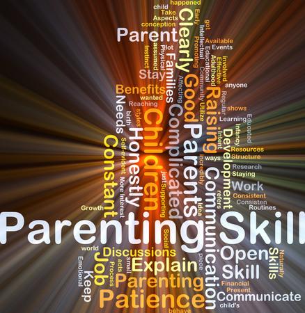 Wordcloud Hintergrund Konzept der Elternschaft Fähigkeiten glühenden Licht Standard-Bild - 45579571