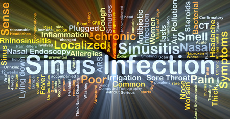 sinus: Background concept wordcloud illustration of sinus infection glowing light