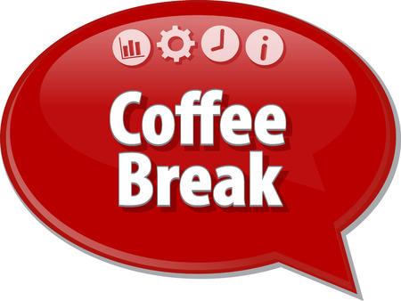 unwind: Speech bubble dialog illustration of business term saying Coffee Break