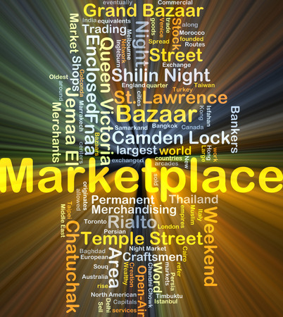 Background concept wordcloud illustration of marketplace glowing light