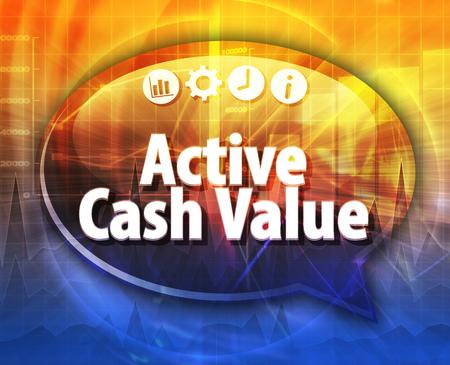 terminology: Speech bubble dialog illustration of business term saying Active cash value