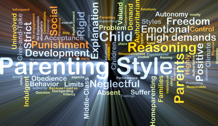 parenting: Background concept wordcloud illustration of parenting style glowing light Stock Photo