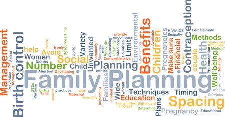 planificacion familiar: Concepto de fondo wordcloud ilustraci�n de la planificaci�n familiar Foto de archivo