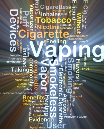 eliquid: Background concept wordcloud illustration of vaping glowing light Stock Photo