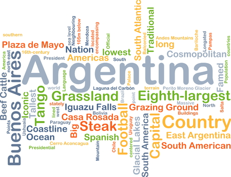 ground beef: Background concept wordcloud illustration of Argentina Stock Photo